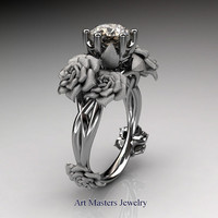 Nature Inspired 14K White Gold 1.0 Ct Champagne Diamond Rose Petal Solitaire Ring R317S-14KWGCHD