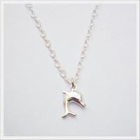 Dolphin Necklace - Sterling Silver Charm Necklace Bridal maid Gift for Her and Him