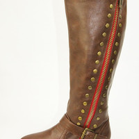 Stylish Brown Zip Up Tall Boot