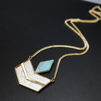 Geometrical Stone Necklace, Turquoise Necklace, Long Chain Gold Necklace, Turquo
