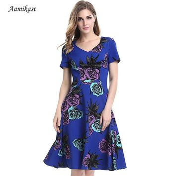 AAMIKAST Women Dresses New Summer 2018 V-neck Print Short Sleeve Retro Rockabilly Floral Swing Bowknot Tunic Vestido Plus Size