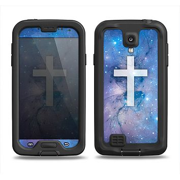 The Vector White Cross v2 over Purple Nebula Samsung Galaxy S4 LifeProof Fre Case Skin Set