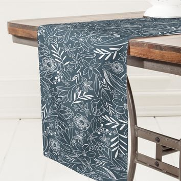Heather Dutton Botanical Sketchbook Midnight Table Runner