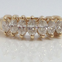 10k solid gold .65ct marquise diamonds wedding band size 8