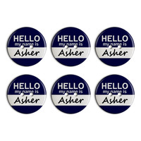 Asher Hello My Name Is Plastic Resin Button Set of 6