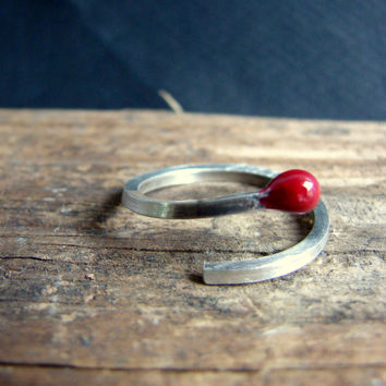 Valentines Bright Red Ring Matchstick Sterling Silver Everyday Jewelry Color Block