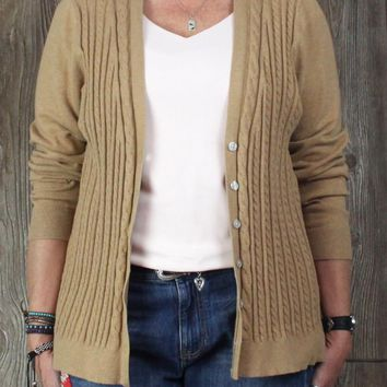 Nice Lands End Cardigan Sweater 1x 16w 18w size Camel Brown Stretch Cable Womens