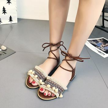 Bohemian Retro Ankle Wraps Open Toe Flat Sandals
