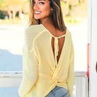 Yellow Sweater with Twist Back