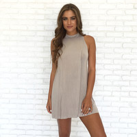 Sand Castle Jersey Shift Dress In Mocha