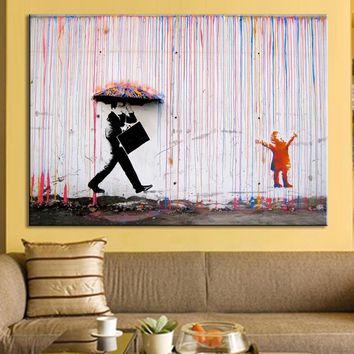 1 Piece Frameless Wall Art painting Bright Color Modern Painting Banksy Art Colorful Rain Wall Canvas Abstract Paintings Home De