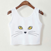 Cat Sexy Fashion Designer Crop Top Strap Tank