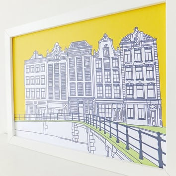Amsterdam Print, Sunshine Yellow print, artwork, Picture of Amsterdam, Holland, Drawing of Amsterdam, Picture of Canal Houses