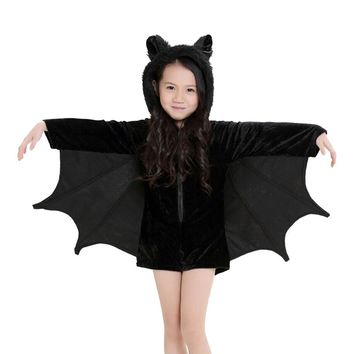 new arrival children girl  batwing short rompers cosplay clothing baby black leotard halloween costume
