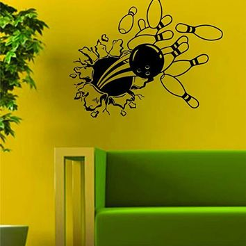 Bowling Burst Wall Decal Decor Art Sticker Vinyl Room Bedroom Home Teen Inspirational Sports Bowl Alley Lane