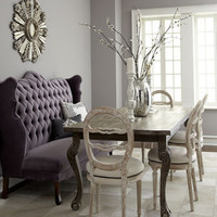 "Haute House - ""Isabella"" Wing Banquette, ""Liday"" Dining Table, & Swedish Side Chair - Horchow"