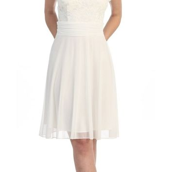 Off White Knee Length Semi Formal Dress Short Sleeve Lace Top