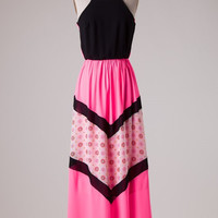 Pink and Black Boho Maxi Dress