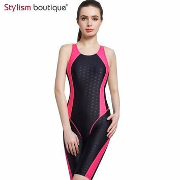 2017 Women Neck To Knee Competition Swimsuit Racing Suit One Piece Bathing Suits One Piece Swimwear Girls Sport Swimsuits