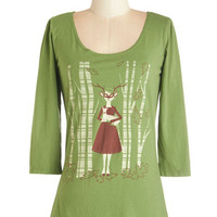 ModCloth Woodland Creature Mid-length 3 Friends Through Thicket and Thin Top