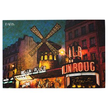 Retro Paris Famous Cabaret With Glowing Lights Metal Photo Print