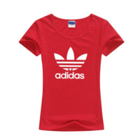 """Adidas"" Women Simple Casual Classic Clover Letter Print Round Neck Short Sleeve Cotton T-shirt"
