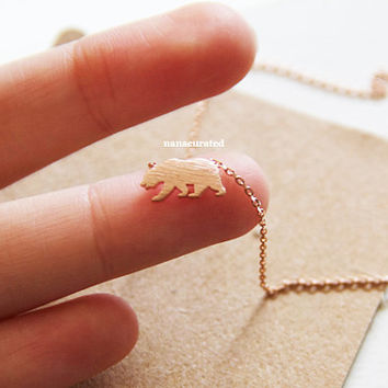 Tiny Bear Charm Necklace, Tiny Charm Necklace, GoldPlated Charm Necklace, GoldPlated Necklace, Hipster, Instagram, Holiday Gifts