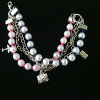 Charm Bracelet - Fushia Pink and Navy Blue Tulle and Pearl Charm Bracelet - It's Travel Time Bracelet - Travel themed charms