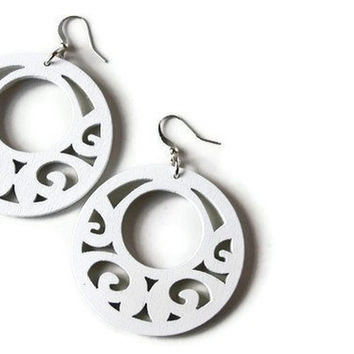 Big White Earrings. Wood Earrings, Boho Style. Wood Filigree Earrings Painted in Pure White.