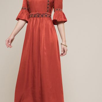 Embroidered Bell Sleeve Maxi Dress