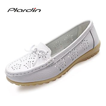 plardin 2018 Cutouts Genuine Leather Shoes Flat Cut outs Women Shoes Ballet Flats Women Four Seasons Nurse Bowtie Loafers Flats