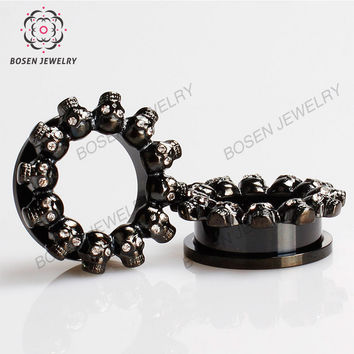 Personality punk skull ear plugs and tunnels Black gold and silver inlay rhinestone ear piercing 6-25mm BOSON body jewelry