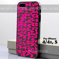 LV Louis Vuitton - Pink - Green - Hard Cover - For iPhone 4 / 4S , iPhone 5 - Black / White Case
