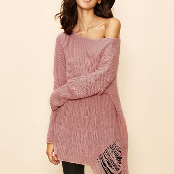 Pink Boat Neck Drop Shoulder Oversized Sweater