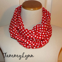 Girls Red with White Polka Dot FLANNEL Infinity Scarf Christmas Women's Accessories