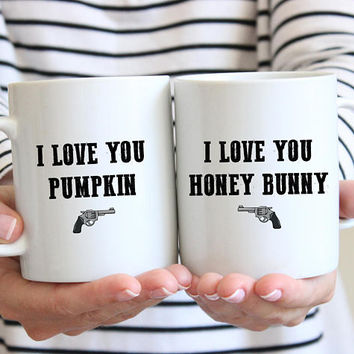 I Love You Pumpkin, I Love You Honey Bunny - Coffee Mug Set, Quote Mug Pulp Fiction, Valentines Day, Couples Gift, Boyfriend Girlfriend gift