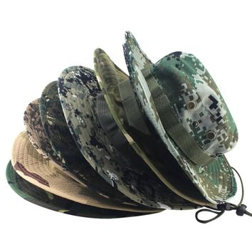 Fashion Military Camouflage Bucket Hats Jungle Camo Fisherman Hat with Wide Brim Sun Fishing Bucket Hat Camping Caps cotton caps