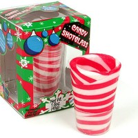 Peppermint Candy Cane Edible Shot Glasses in Gift Box (New Year Party Celebration Candy Shot Glasses New Years) (Includes 3 Shot Glasses)