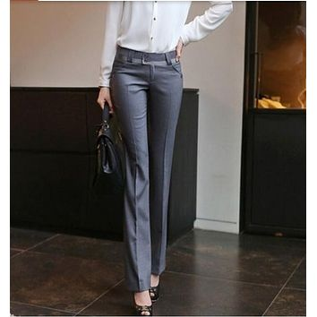 2017 Spring Summer Women Straight Pants Plus Size OL Suit Pants New Fashion Western-Style Trousers Casual Work Pants Women