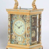 A Fine French Gilt Brass Cloisonne Enamel Alarm Carriage Clock, circa 1890