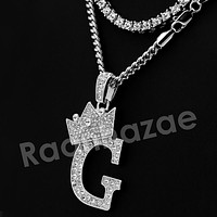 Iced Out King Crown G Initial Pendant Necklace Set (Silver)