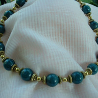 Dark Teal and gold tone one strand necklace, a gorgeous and rich color