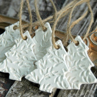 Set of 5 . Christmas Tree Ornaments . Primitive White Clay . Christmas Ornaments . CoWorker Gift Ideas