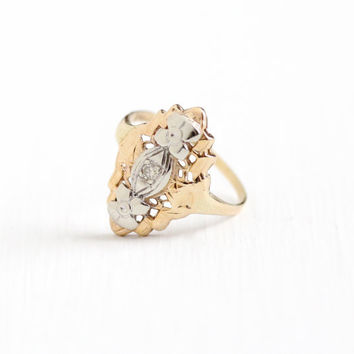 Vintage 14K Yellow & White Gold Diamond Flower Filigree Shield Ring - Size 4 1/2 Art Deco 1930s Two Tone Engagement Promise Fine Jewelry