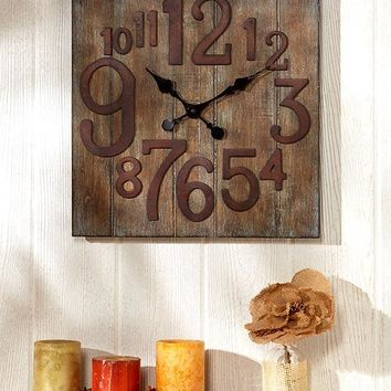 Unique Home Office Western Rustic Vintage Wooden Wall Clock