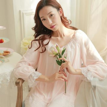 2017 Royal Princess Cotton Pajamas Female Autumn Spring Long Sleeved Lace Vintage Lace Pajamas Set