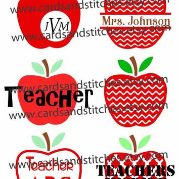 Teacher Apple Designs - Teachers Inspire - Chevron Apple Design - Digital Cutting File - Graphic Design - Instant Download - SVG, DXF, JPG