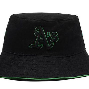 Oakland Athletics Full Leather Bucket Hats Black