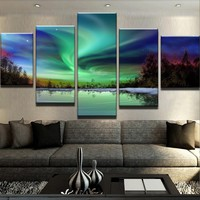 Northern Lights Lake Canvas Set