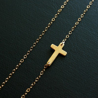 Sideways cross necklace  gold filled by DelicacyJ on Etsy